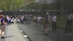 Washington DC Vietnam War Memorial reflection wall tourists 4K 049 Stock Footage