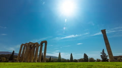 Olympeion, Greek temple of Zeus timelapse sunny bright day wide view Stock Footage