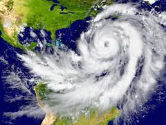 Hurricane over the Atlantic - stock illustration