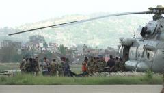 Earthquake Nepal Unload Injured  - stock footage