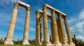 Olympeion, Greek temple of Zeus timelapse sunny bright day wide view Footage