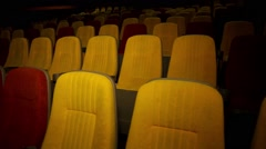 The end of the session in the theater. Empty cinema hall. Stock Footage