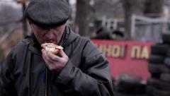 Rebel eat bread. Unfortunate eats last sandwich. - stock footage