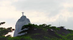 View of Christ the Redeemer statue on a mountain in Brazil Stock Footage