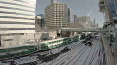 Trains departing union station in downtown Toronto in winter. Stock Footage