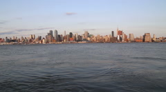 View of NY from Edgewater luxury residentials Stock Footage