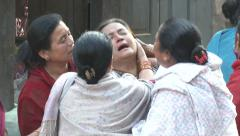 Earthquake Nepal  Women Mourning Crying Stock Footage