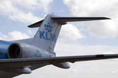 airplane rear end klm city hopper - stock photo