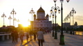 Moscow, Cathedral of Christ the savior, time-lapse in motion, hyperlapse. Footage