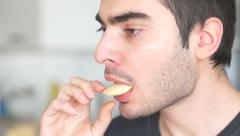 4K Man Eating Portato Chips Food Stock Footage