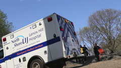 Ambulance on central park - stock footage
