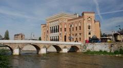 City Hall Sarajevo and the Miljacka River in Bosnia and Herzegovina Stock Footage