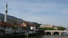 Miljacka River in Sarajevo Bosnia and Herzegovina Stock Footage