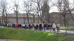 Tourists walking towards the Old Town in Krakow, Poland, footage Stock Footage
