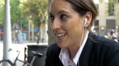 Attractive young business woman talking mobile phone busy city smartphone 4k Stock Footage