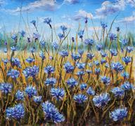 Flower Field. Blue flowers in meadow. Blue sky. Oil painting. - stock illustration