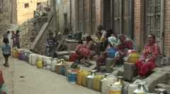 Earthquake Nepal, Khokana Water shortage  - stock footage