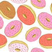 Sketch tasty donut in vintage style - stock illustration