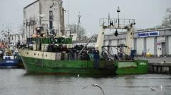 Fishing port of Ustka, Poland Stock Footage