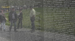 Washington DC Vietnam War Memorial tourists reflection wall 4K 050 Stock Footage