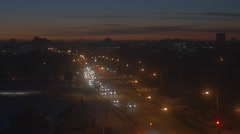 Stock Video Footage of 4K Nightime Boulevard Cars Passing Winter