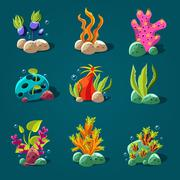 Set of Cartoon Algae, Elements for Aquarium Decoration Stock Illustration