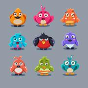 Stock Illustration of Funny Cartoon Birds, Vector Illustration