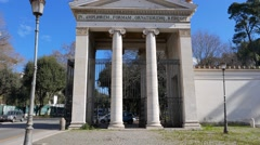 The gates to the park. Piazzale Flaminio. Rome, Italy Stock Footage