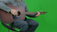 Green screen of male playing a guitar Stock Footage
