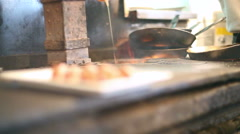Large fire flame from a wood burning stove Stock Footage