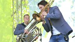 Tuba and trombone on the stage. Close-up. Stock Footage