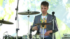 The drummer on the stage. Stock Footage