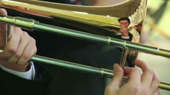 Trombones and trumpets. Close-up. Stock Footage