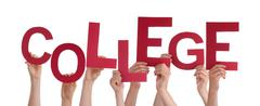 Many People Hands Holding Red Word College Stock Photos