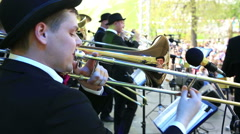 Trombone on the stage. Close-up. Stock Footage