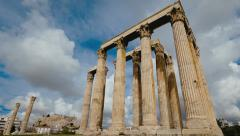 Olympeion timelapse Ancient Temple of Olympian Zeus Pillars Greece Stock Footage