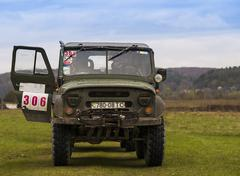 Drives UAZ during a motoring event Lvov Off-Road Stock Photos