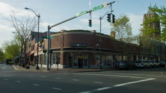 New Haven Broadway & Elm Intersection, near Yale Stock Footage