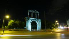 Night Timelapse Arch of Hadrian motion control pan Olympeion Stock Footage