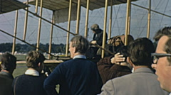England 1970s: Wright brothers aircraft during an air show Stock Footage