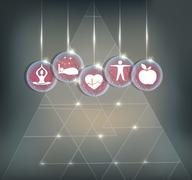 Symbols how to maintain healthy Cardiovascular system Stock Illustration