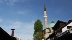 Baščaršijska džamija Mosque in Sarajevo Bosnia and Herzegovina Stock Footage