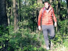 A lost young man looking for direction in the forest NTSC - stock footage