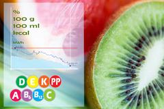 Stock Illustration of kiwi with grapefruit over calories and vitamins