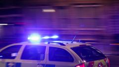 Speeding police car Stock Footage