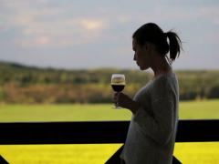 Young pretty woman drinking wine on the terrace in the country house NTSC Stock Footage