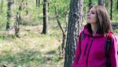 Young, pretty woman rest, enjoy forest view HD Stock Footage