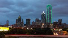 Dallas Skyline Sunset Timelapse Stock Footage