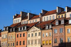 Old Town Tenement Houses in Warsaw - stock photo
