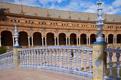 Bridge Balustrade on Plaza de Espana Stock Photos